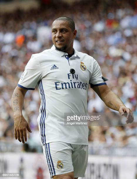 Roberto Carlos of Real Madrid Legends looks on during the Corazon Classic charity match between Real Madrid Legends and Roma Legends at Estadio...