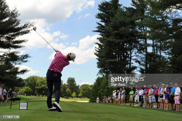 Roberto Castro hits a drive on the eighth hole during the third round of the AT&T National at Congressional Country Club on June 29, 2013 in...
