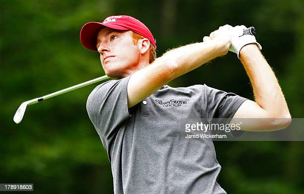 Roberto Castro of the USA plays his shot from the eighth tee during the second round of the Deutsche Bank Championship at TPC Boston on August 31,...