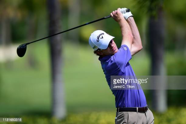 Roberto Castro plays his shot from the second tee during the third round of the Puerto Rico Open at Coco Beach Golf and Country Club on February 23...