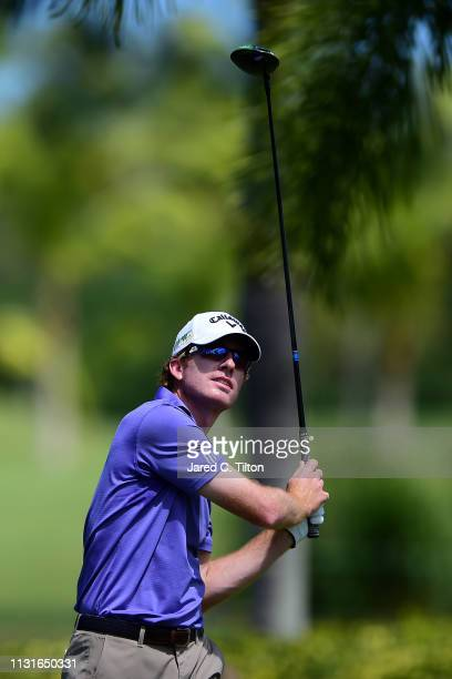 Roberto Castro watches his shot from the second tee during the third round of the Puerto Rico Open at Coco Beach Golf and Country Club on February 23...