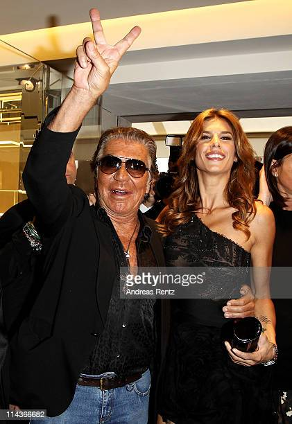 Roberto Cavalli and Elisabetta Canalis attend the Cavalli Boutique Opening during the 64th Annual Cannes Film Festival on May 18, 2011 in Cannes,...