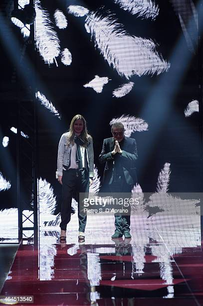 Roberto Cavalli and Eva Cavalli walk the runway at the Just Cavalli show during the Milan Fashion Week Autumn/Winter 2015 on February 26 2015 in...