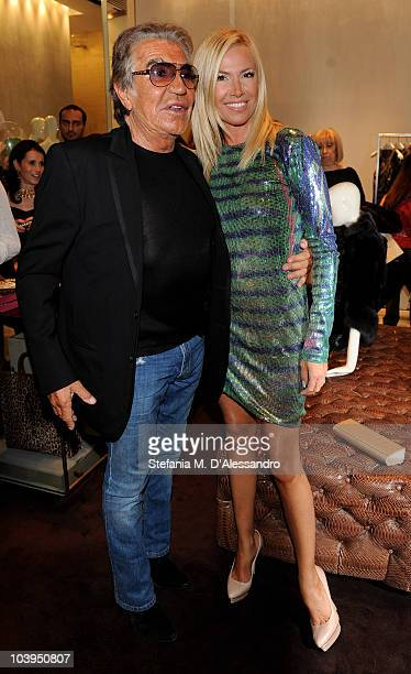 Roberto Cavalli and Federica Panicucci attend Roberto Cavalli Milan Fashion Night Out on September 9, 2010 in Milan, Italy.