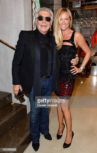 Roberto Cavalli and Federica Panicucci attend the new Just Cavalli boutique opening party as part of Milan Womenswear Fashion Week on September 21,...
