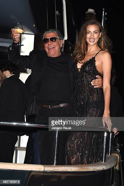 Roberto Cavalli and Irina Shayk attend the 'Roberto Cavalli Annual Party Aboard' Outside Arrivals at the 67th Annual Cannes Film Festival on May 21...