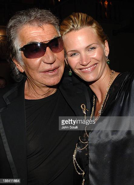 Roberto Cavalli and Natasha Henstridge during Roberto Cavalli Vodka Los Angeles Release Party Inside at Private Residence in Beverly Hills California...