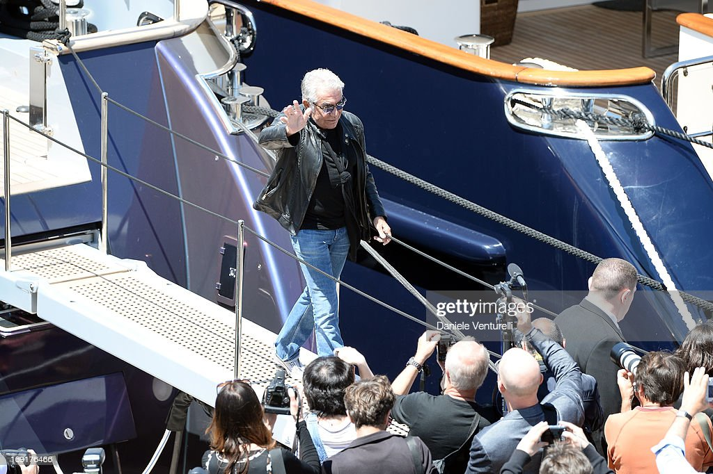 Roberto Cavalli leaves the 'Roberto Cavalli' yacht during The 66th Annual Cannes Film Festival on May 21, 2013 in Cannes, France.