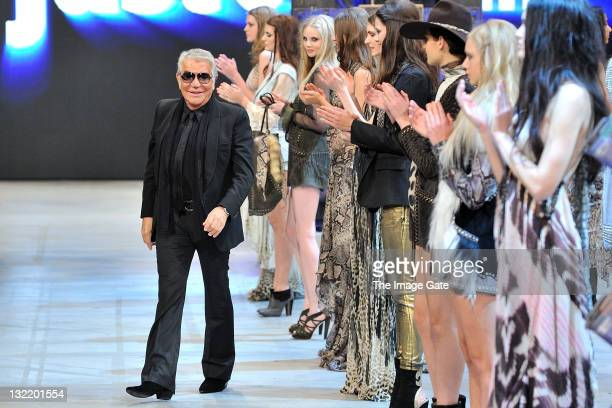 Roberto Cavalli walks the runway after his Just Cavalli show during the second day of the Charles Voegele Fashion Days on November 10, 2011 in...