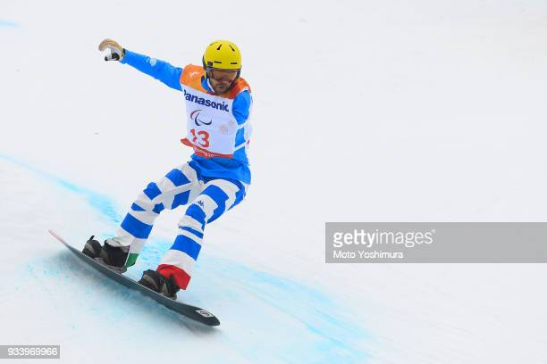 Roberto Cavicchi of Italy competes in the Snowboard Men's Banked Slalom SBUL Run 1 on day seven of the PyeongChang 2018 Paralympic Games on March 16...