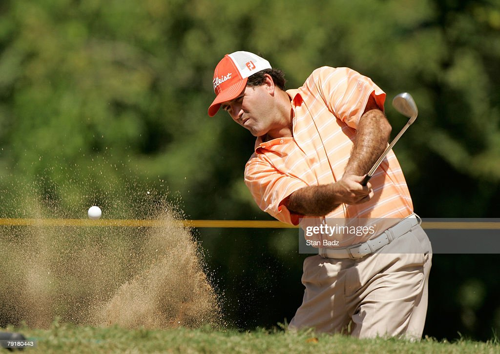 Roberto ''Chico'' Duran of Panama hits out of the bunker at the 16th green during the Pro-Am of the Movistar Panama Championship on January 23, 2008 at the Club de Golf de Panama in Panama City, Republica De Panama.