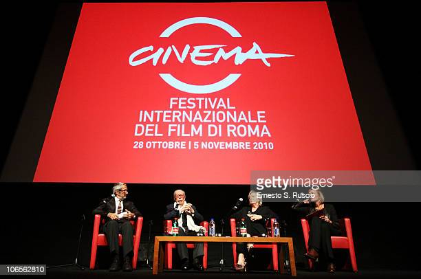 Roberto Cicutto Gian Luigi Rondi Piera Detassis and Francesca Via on stage during a press conference on the closing day of the 5th International Rome...