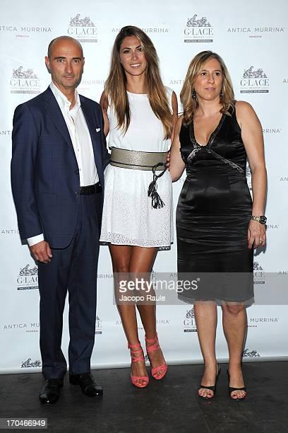 Roberto Ciotti Melissa Satta and Elena Valtolina attend Antica Murrina Unveils G Lace Bracelet on June 13 2013 in Milan Italy
