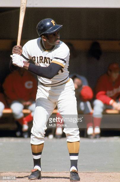 Roberto Clemente of the Pittsburgh Pirates at bat during his first National League Championship Series against the Cincinnati Reds The Reds went on...