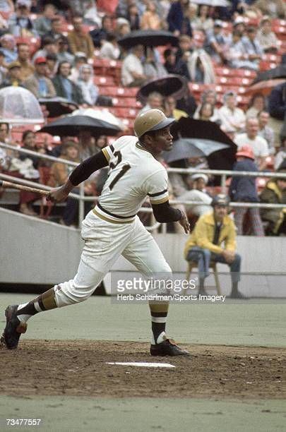 Roberto Clemente of the Pittsburgh Pirates batting against the Montreal Expos on September 24 1972 in Pittsburgh Pennsylvania