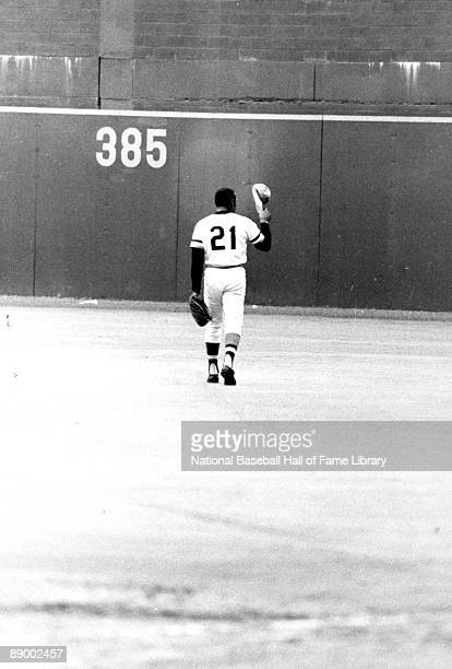 Roberto Clemente of the Pittsburgh Pirates is shown tipping his hat after collecting career hit number 3 his last regular season hit ever against the...