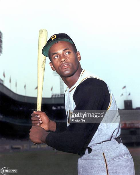 Roberto Clemente of the Pittsburgh Pirates poses for an action portrait Roberto Clemente played for the Pirates from 19551972