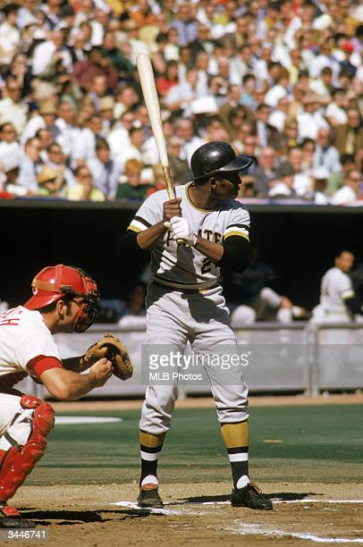 Roberto Clemente of the Pittsburgh Pirates readies for the pitch during his first National League Championship Series against the Cincinnati Reds The...