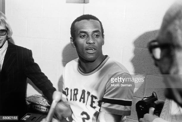 PITTSBURGH Roberto Clemente of the Pittsburgh Pirates talks to the media after getting his 3000th hit against the New York Mets at Three Rivers...