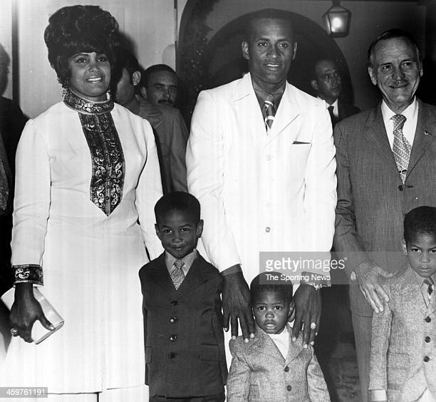 Roberto Clemente wife Vera and sons Roberto Jr Roberto Enrique and Roberto Luis and formerGovernor of Puerto Rico Luis A Ferre at the Governors...