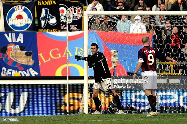Roberto Colombo goal keeper of Bologna in action during the Serie A match between Bologna and AC Milan at Stadio Renato Dall'Ara on February 7 2010...