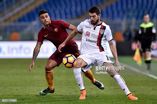 Roberto Colombo of Cagliari is challenged by Emerson Palmieri of AS Roma during the Serie A match between Roma and Cagliari at Stadio Olimpico Rome...