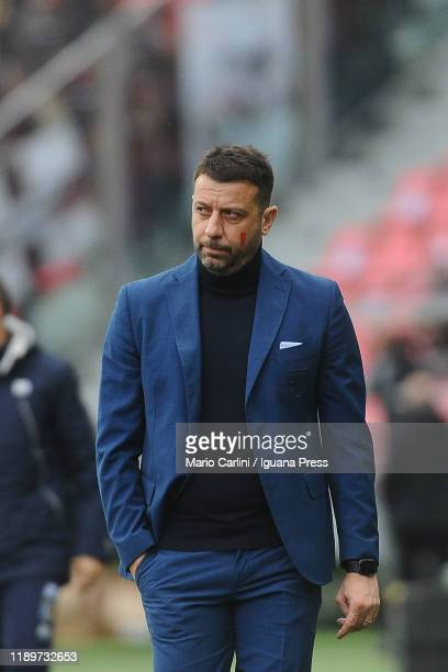 Roberto D' Aversa head coach of Parma Calcio looks on during the Serie A match between Bologna FC and Parma Calcio at Stadio Renato Dall'Ara on...