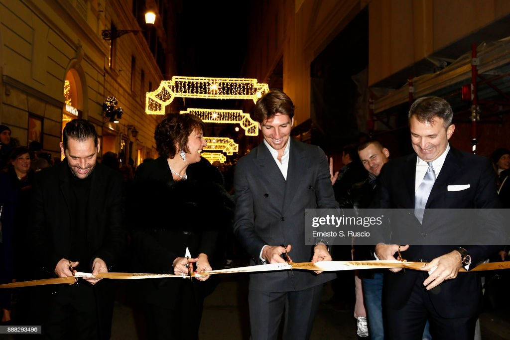 Roberto D'Amato, Tiziana Cuscuna, Alan Cappelli Goetz and Lelio Gavazza attend Christmas Lights At Bvlgari Boutique Rome on December 7, 2017 in Rome, Italy.