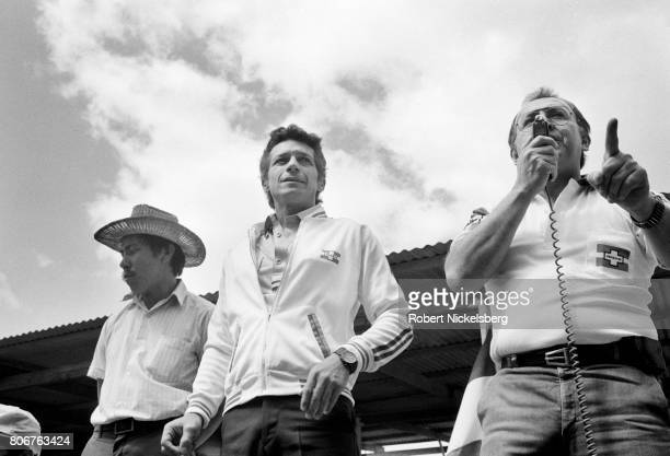 Roberto D'Aubuisson center founder of rightwing extremist party Nationalist Republican Alliance campaigns during a presidential rally in Santa Tecla...