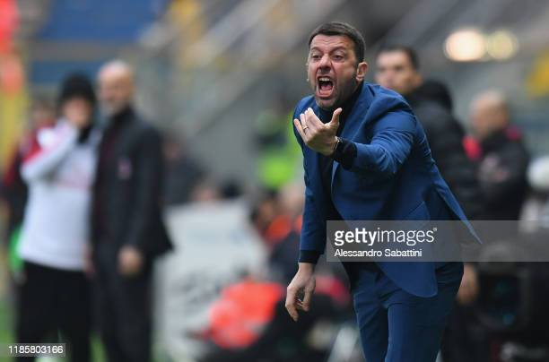 Roberto D'Aversa head coach of Parma Calcio issues instructions to his players during the Serie A match between Parma Calcio and AC Milan at Stadio...