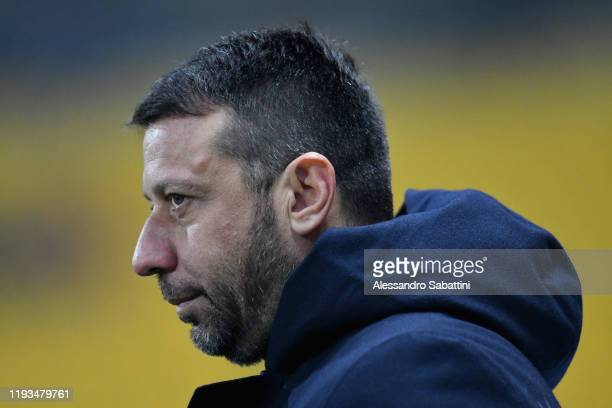 Roberto D'Aversa head coach of Parma Calcio looks on during the Serie A match between Parma Calcio and US Lecce at Stadio Ennio Tardini on January 13...