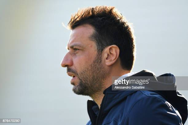 Roberto D'Aversa head coach of Parma Calcio looks on during the Serie B match between Parma Calcio and Ascoli Picchio at Stadio Ennio Tardini on...