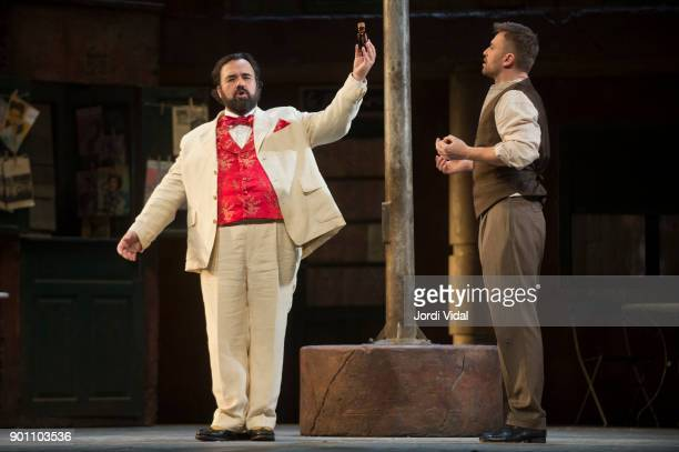 Roberto de Candia and tenor Pavol Breslik perform on stage L'Elisir d'Amore at Gran Teatre del Liceu on January 3 2018 in Barcelona Spain