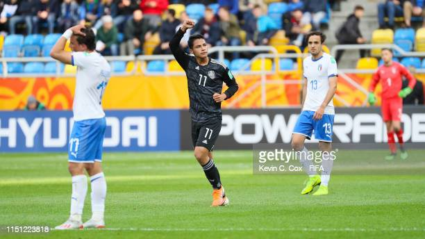 Roberto de la Rosa of Mexico celebrates after scoring his team's first goal during the 2019 FIFA U-20 World Cup group B match between Mexico and...