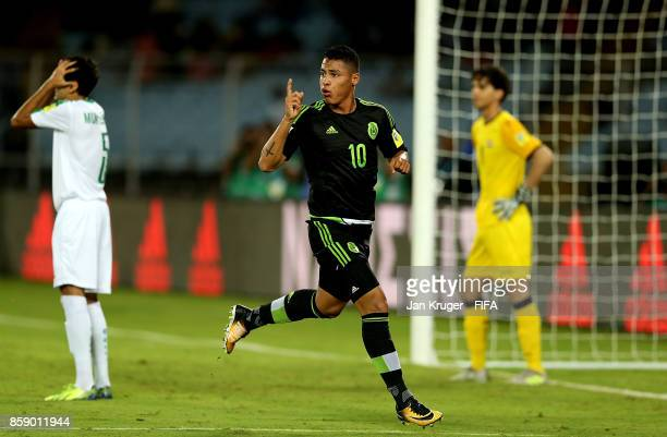 Roberto De La Rosa of Mexico celebrates his goal during the FIFA U17 World Cup India 2017 group F match between Iraq and Mexico at Vivekananda Yuba...