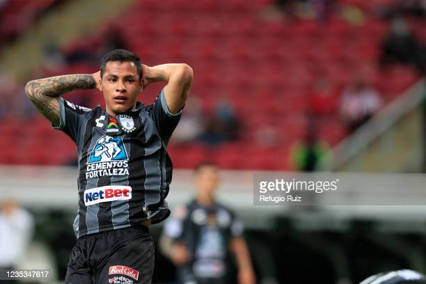 Roberto de la Rosa of Pachuca reacts during the 9th round match between Chivas and Pachuca as part of the Torneo Grita Mexico A21 Liga MX at Akron...
