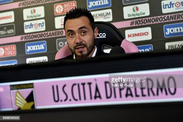 Roberto De Zerbi answers questions during his presentationa as new Head Coach of US Citta' di Palermo at Carmelo Onorato training session on...