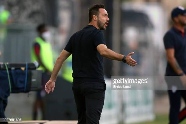 Roberto de Zerbi coach of Sassuolo reacts during the Serie A match between Cagliari Calcio and US Sassuolo at Sardegna Arena on July 18 2020 in...