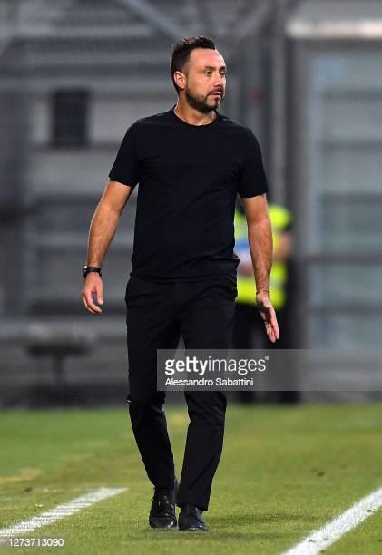 Roberto De Zerbi head coach of US Sassuolo reacts during the Serie A match between US Sassuolo and Cagliari Calcio at Mapei Stadium Città del...
