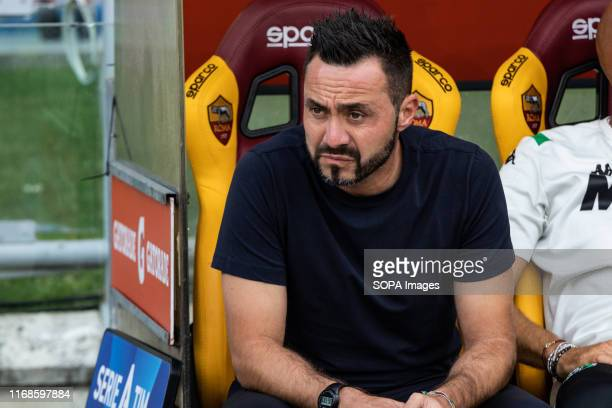 Roberto De Zerbi of Sassuolo during the Serie A match between AS Roma and Sassuolo at Olimpico Stadium
