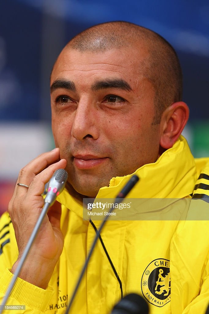 Roberto Di Mateo the Chelsea manager during the Chelsea Training and Press Conference ahead of the UEFA Champions League Group E match between Shakhtar Donetsk and Chelsea at Donbass Arena on October 22, 2012 in Donetsk, Ukraine.