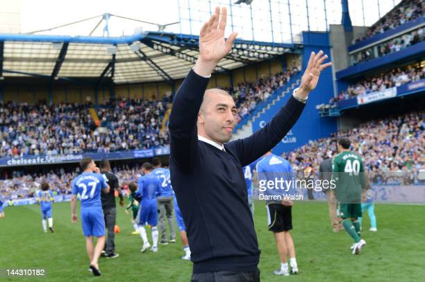 Roberto Di Matteo caretaker manager of Chelsea applauds the fans during the Barclays Premier League match between Chelsea and Blackburn Rovers at...