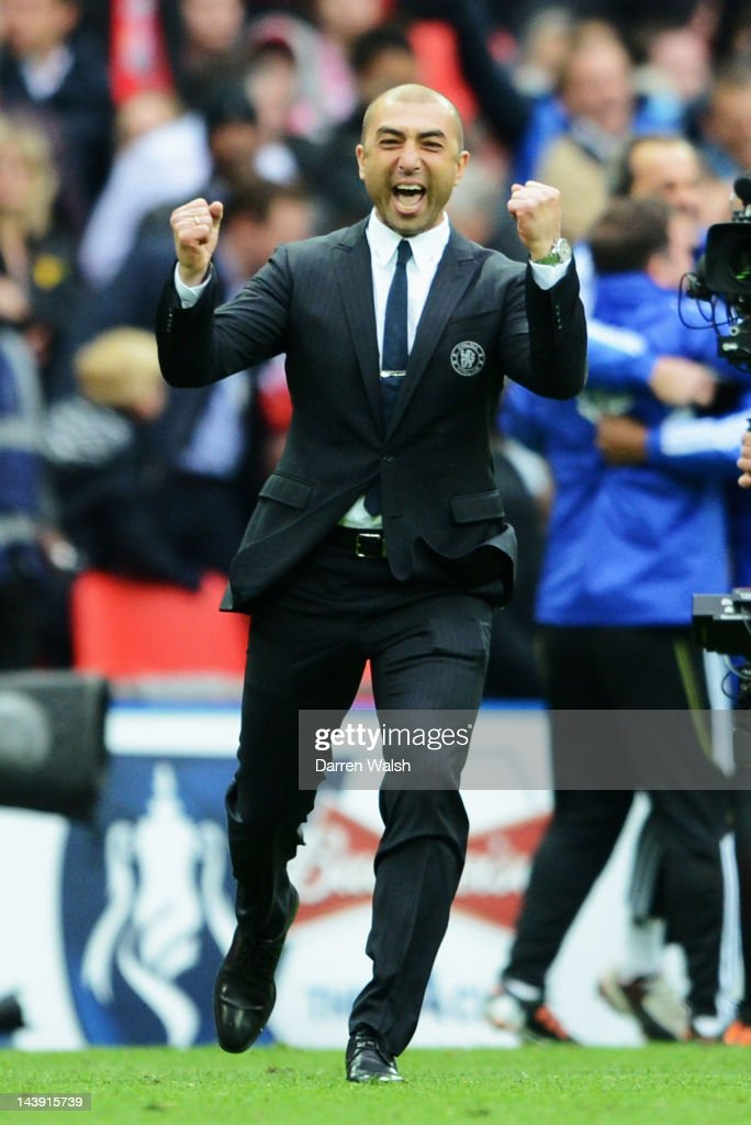 Roberto Di Matteo caretaker manager of Chelsea celebrates victory in the FA Cup Final with Budweiser between Liverpool and Chelsea at Wembley Stadium on May 5, 2012 in London, England.