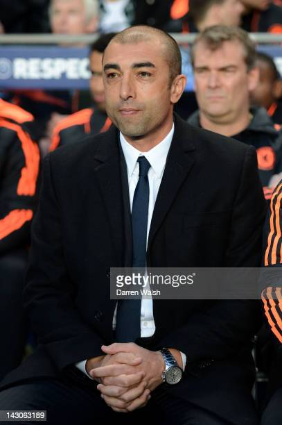 Roberto Di Matteo, caretaker manager of Chelsea looks on during the UEFA Champions League Semi Final first leg match between Chelsea and Barcelona at...