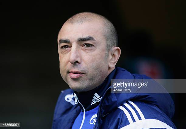 Roberto Di Matteo Head Coach of FC Schalke before the Bundesliga match between FC Augsburg and FC Schalke 04 at SGL Arena on April 5 2015 in Augsburg...