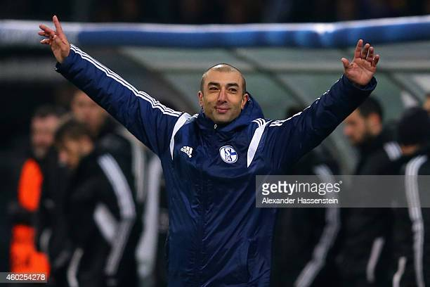 Roberto Di Matteo head coach of Schalke celebrates after winning the UEFA Group G Champions League match between NK Maribor and FC Schalke 04 at...