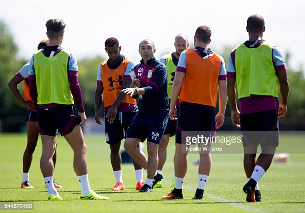 Roberto Di Matteo manager of Aston Villa in action during a Aston Villa training session at the club's training ground at Bodymoor Heath on July 04...