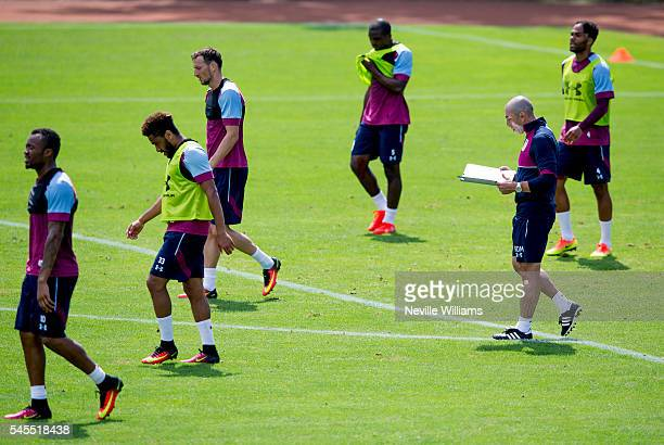 Roberto Di Matteo manager of Aston Villa in action during a Aston Villa training session at the club's training camp at Leibnitz on July 08 2016 in...