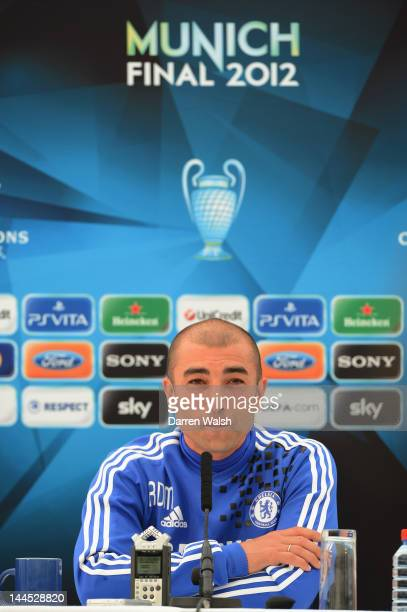 Roberto Di Matteo of Chelsea during a press conference at the Cobham training ground on May 15 2012 in Cobham England