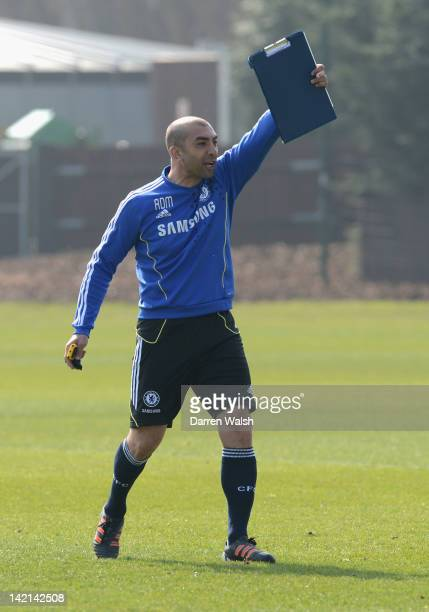 Roberto Di Matteo of Chelsea during a training session at the Cobham Training Ground on March 30 2012 in Cobham England